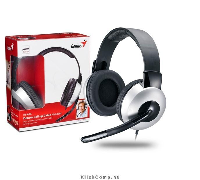 Fejhallgató 3.5mm Jack hangerőszabályozó mikrofon Genius HS-05A Stereo    GENIUS-31710011100 fotó 5041493008